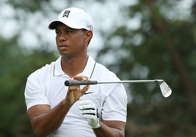 Woods struggled on the front nine, making bogey on three of his first four holes.