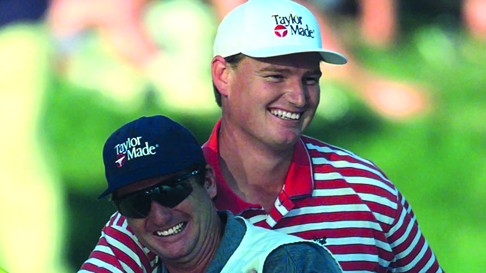 Ernie Els celebrates with his caddie Ricci Roberts after the final round of the U.S. Open on June 15, 1997.