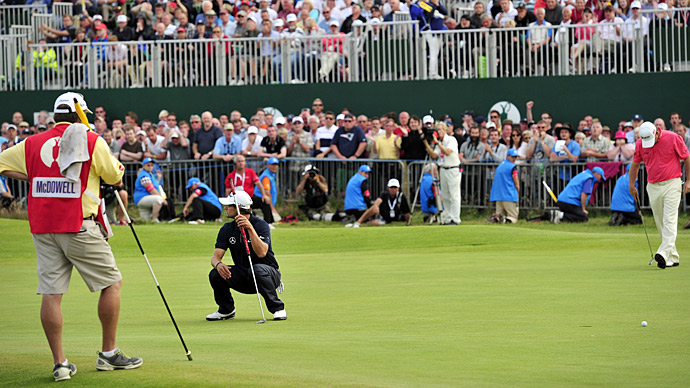 Scott led by four shots entering the final round at Royal Lytham and St. Annes and appeared ready to win his first career major championship. He also led by four shots with four holes to play, but then it happened: he closed with four straight bogeys, capped by a missed par putt on 18 (above) that would've gotten him into a playoff. Ernie Els shot a final-round 68 -- including a birdie on 18 -- to win by one shot.