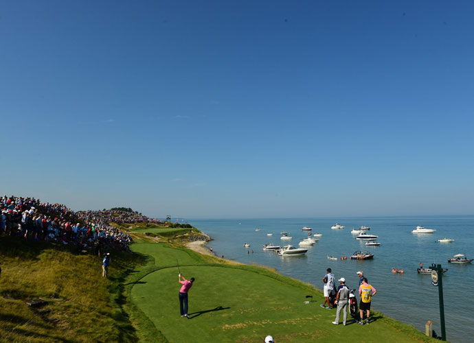 A view of Jordan Spieth alongside Lake Michigan.
