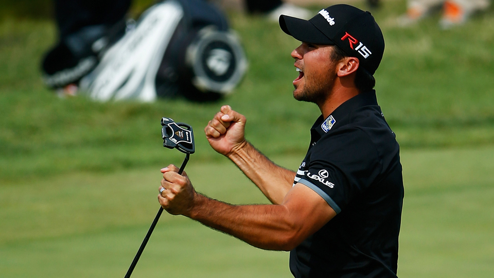 Jason Day celebrates a long birdie putt on the seventh green during the final round of the PGA Championship at Whistling Straits on Aug. 16, 2015, in Sheboygan, Wisconsin.