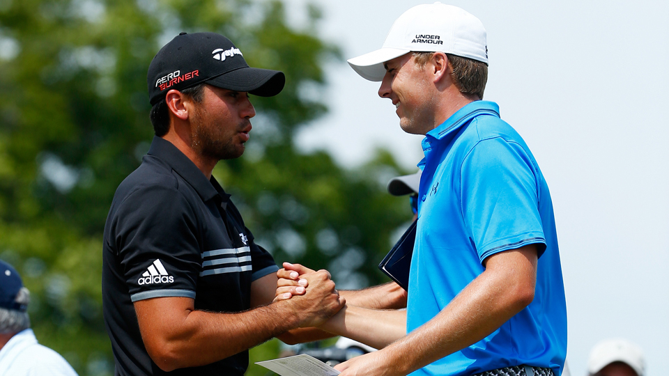 Jason Day greets Jordan Spieth on the first tee during the final round of the PGA Championship at Whistling Straits on Aug. 16, 2015, in Sheboygan, Wisconsin.