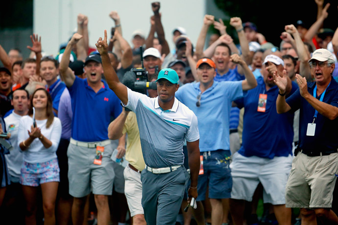 Woods finished with a six-under 64, his best round in two years.