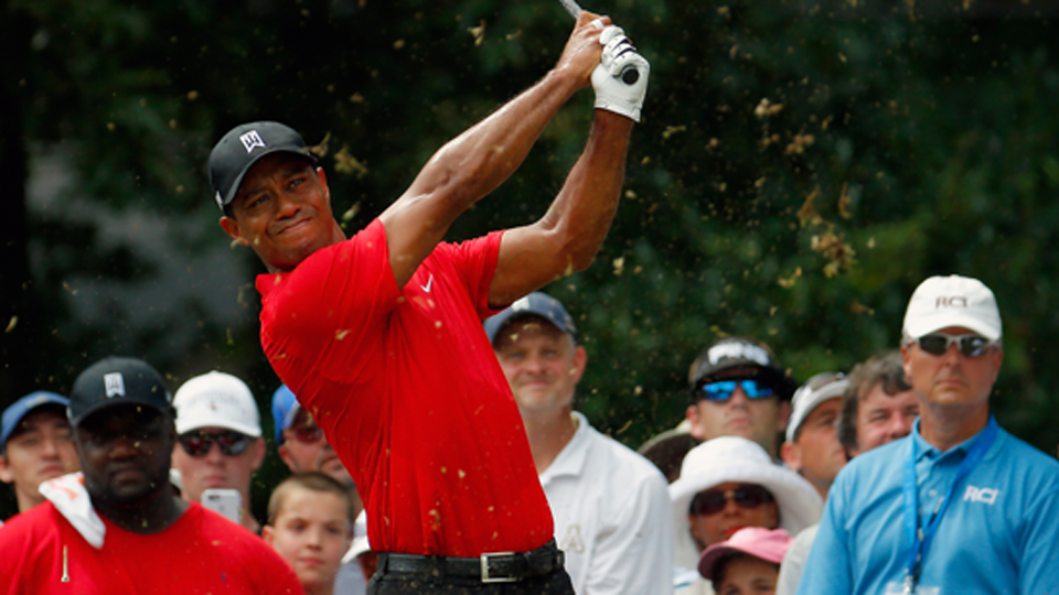 Tiger Woods tees off on the sixth hole during the final round of the Wyndham Championship at Sedgefield Country Club on Aug. 23, 2015, in Greensboro, N.C.