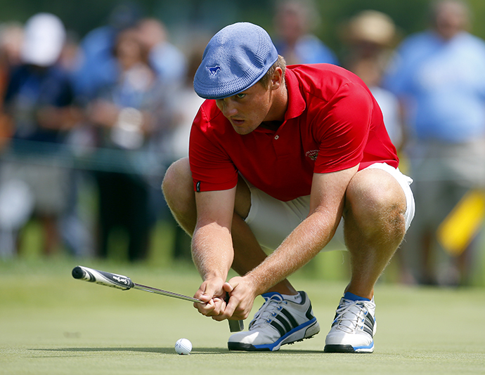 Bryson DeChambeau studies his putt on the 17th hole during the final match of the 2015 U.S. Amateur.