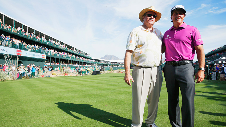 Phil Mickelson and Chris Berman during the Waste Management Phoenix Open Pro-Am.