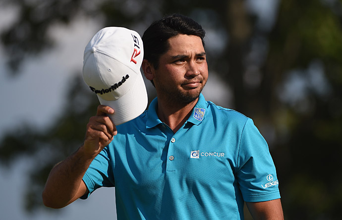 Jason Day fired a seven-under 63 on Saturday to tie for the lead at the Barclays.