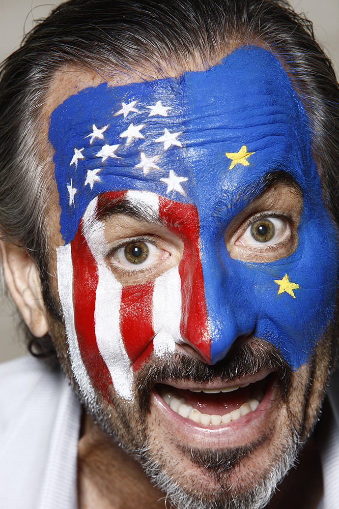 A closeup portrait of GOLF Magazine contributing writer David Feherty wearing American and European face paint for the 2010 Ryder Cup Preview.