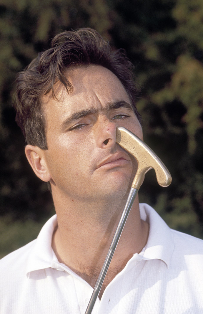 David Feherty poses with his putter at the 1989 European Open Golf Championship held at the Walton Heath Golf Course in Walton on the Hill.