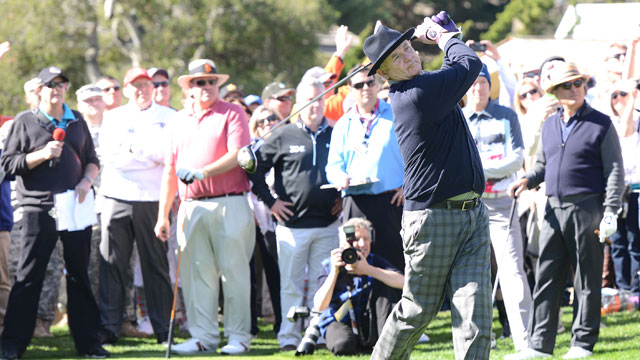 Actor Bill Murray is seen on the 1st hole tee-off during the 3M Celebrity Challenge before the AT&T Pebble Beach National Pro-Am at the Pebble Beach Golf Links on February 11, 2015 in Pebble Beach, California.