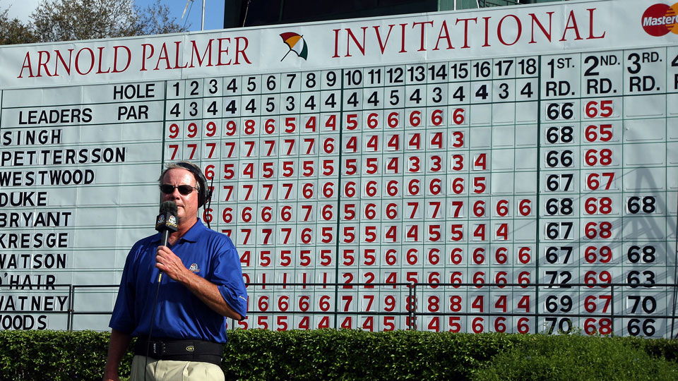 Mark Rolfing calling the numbers by the scoreboard the 18th hole during the third round of the 2008 Arnold Palmer Invitational.
