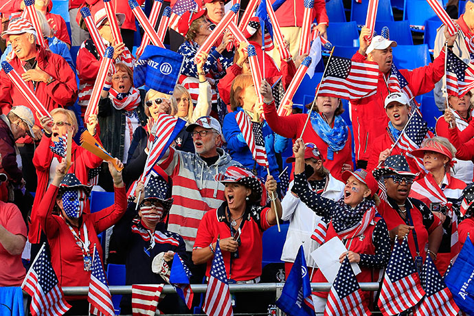 Team USA fans are seen during the morning foursomes on day one of the 2015 Solheim Cup.