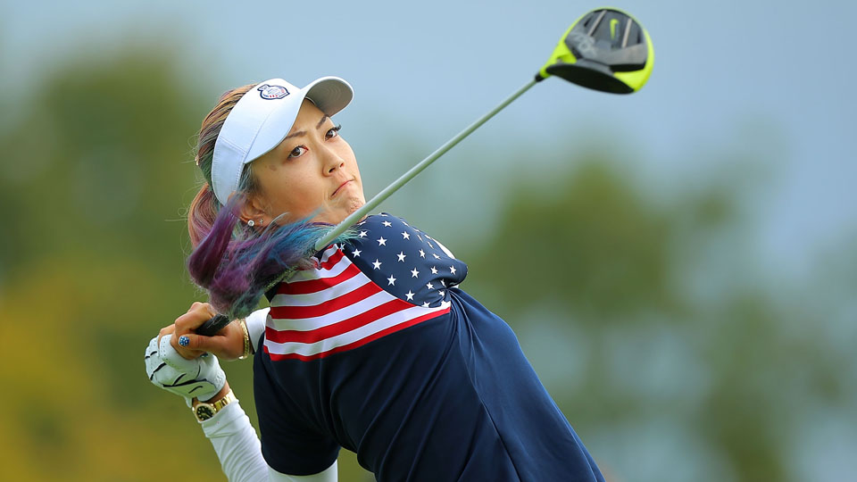 Michelle Wie of the United States takes a shot at the 2nd tee during the Sunday singles matches in the 2015 Solheim Cup.