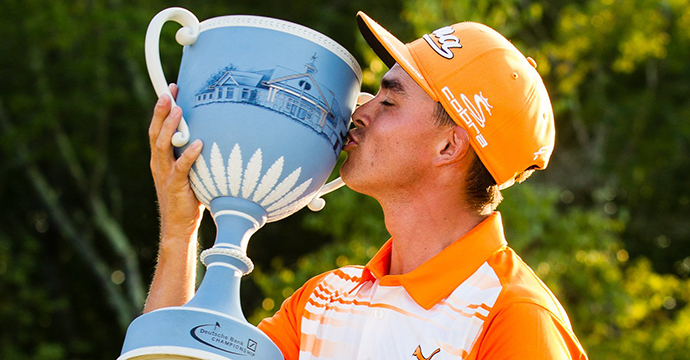 Rickie Fowler kisses the Wedgwood Throphy after winning the 2015 Deutsche Bank Championship.