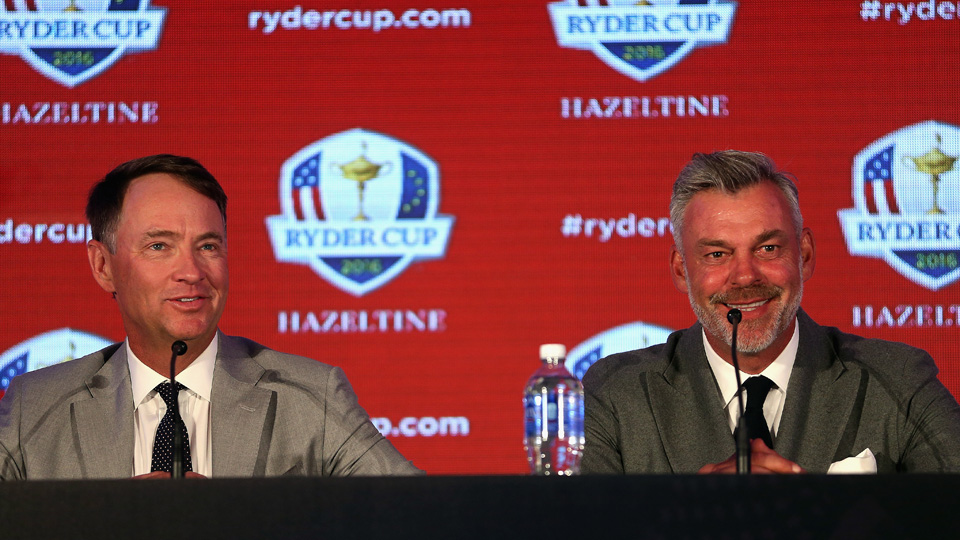 2016 Ryder Cup captains Davis Love III (left) and Darren Clarke address the media during the Ryder Cup Captains' Press Conference at Hazeltine National Golf Club on Sept. 29, 2015, in Chaska, Minnesota.