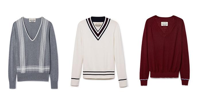 Cotton-Cashmere V-Neck Sweater, $195; Performance Merino V-Neck Sweater, $225; Performance Cashmere Sweater, $285