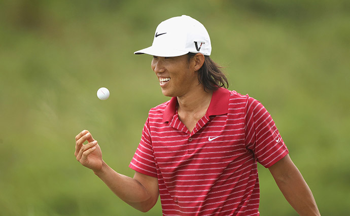 Anthony Kim of USA smiles during round two of the 2011 Iskandar Johor Open.