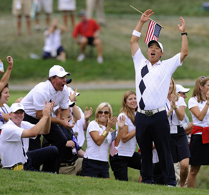 Anthony Kim celebrates with Team USA at the 2008 Ryder Cup at Valhalla Golf Club.