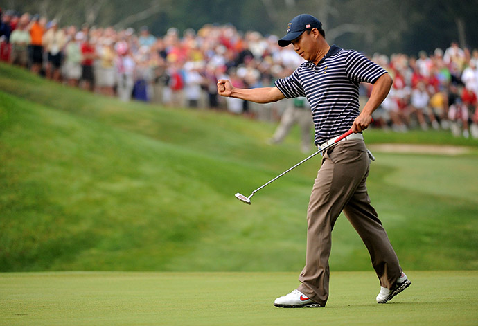 Anthony Kim celebrates a birdie on the fourth hole during the morning foursome matches on day two of the 2008 Ryder Cup at Valhalla Golf Club.