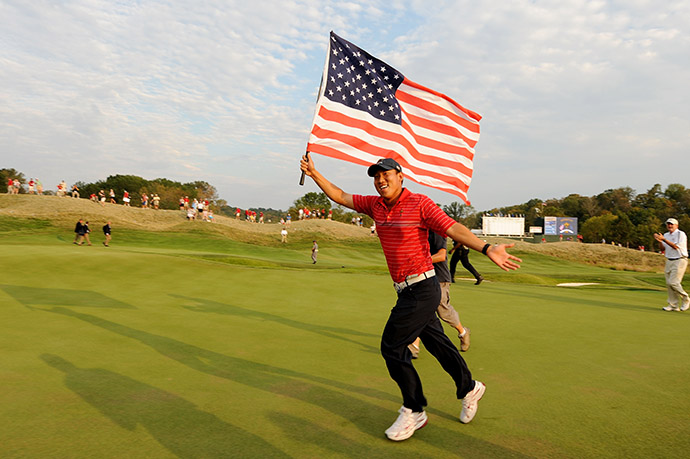 Anthony Kim celebrates with an American flag after the USA won the 2008 Ryder Cup.