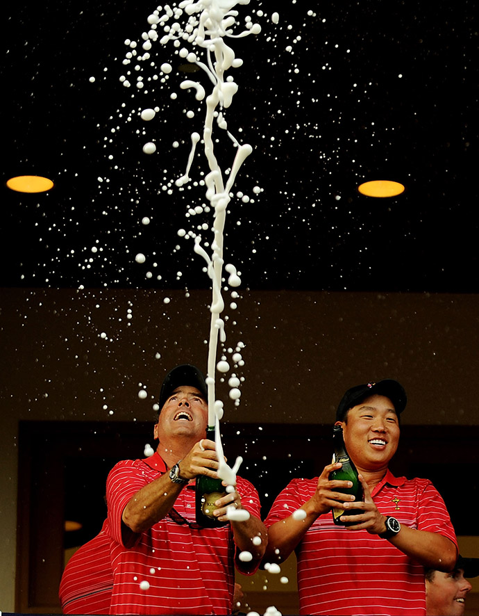 Olin Browne (L) and Anthony Kim celebrate their Ryder Cup win.