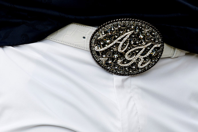 Anthony Kim often sported flashy initial belt buckles while he played.