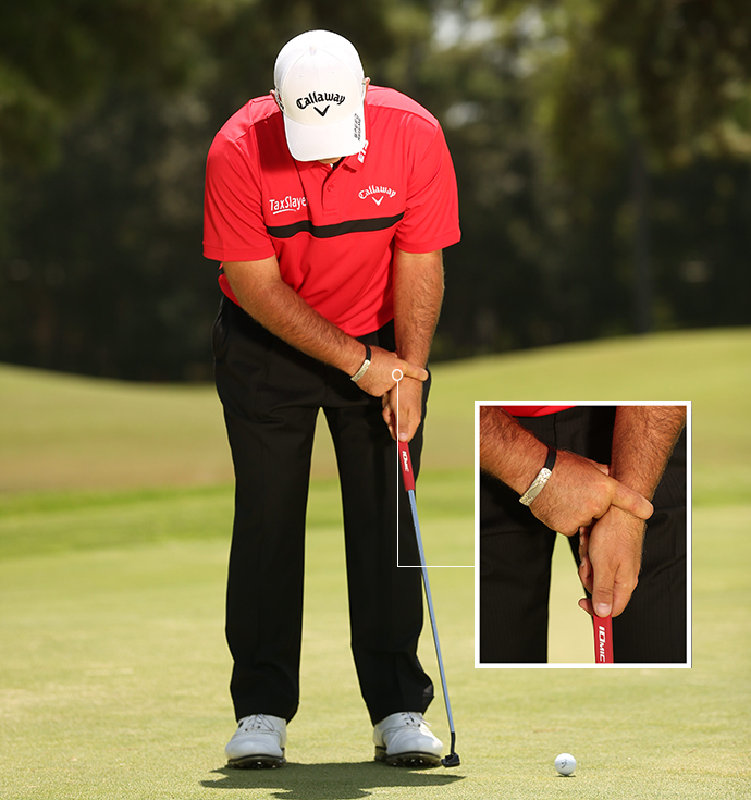 A left-hand-dominant stroke keeps the face square to the target for pure, straight rolls.
