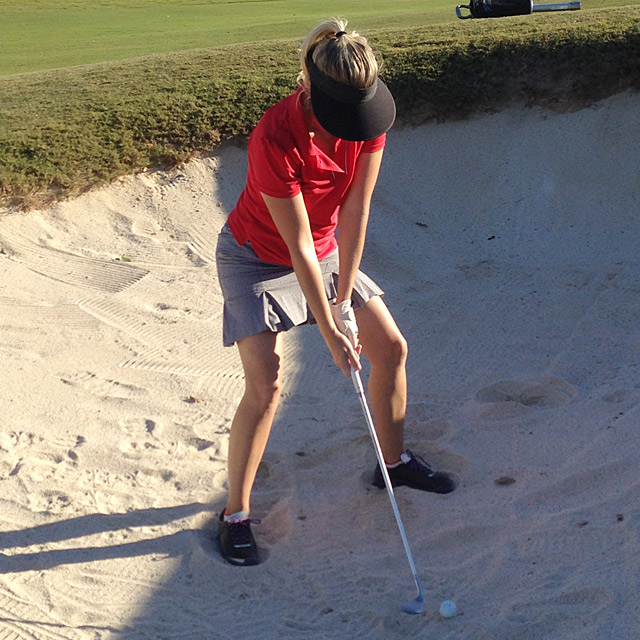 The author works on her bunker game on Friday.