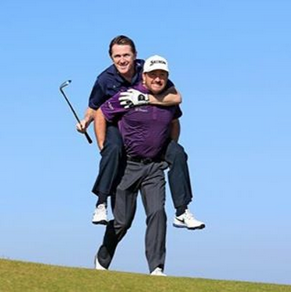 Great practice round today with my partner this week AP McCoy at #Kingsbarns. Jockey and Horse is perfect harmony!!!!