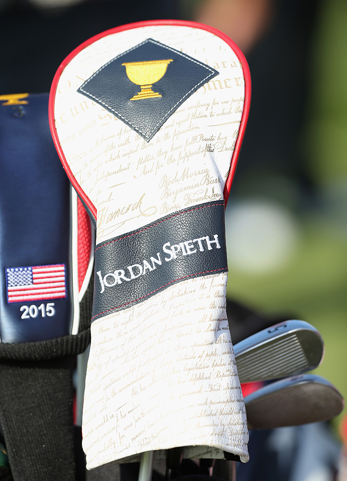 Jordan Spieth's driver cover is seen during a practice round.