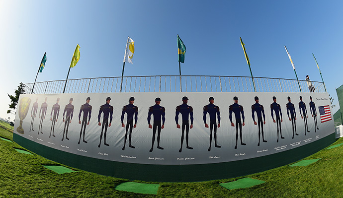 Avatar figures of the players are seen near the Presidents Cup clubhouse.