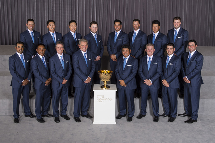 Members of the International Team pose for a formal group portrait during The Presidents Cup Opening Ceremony.