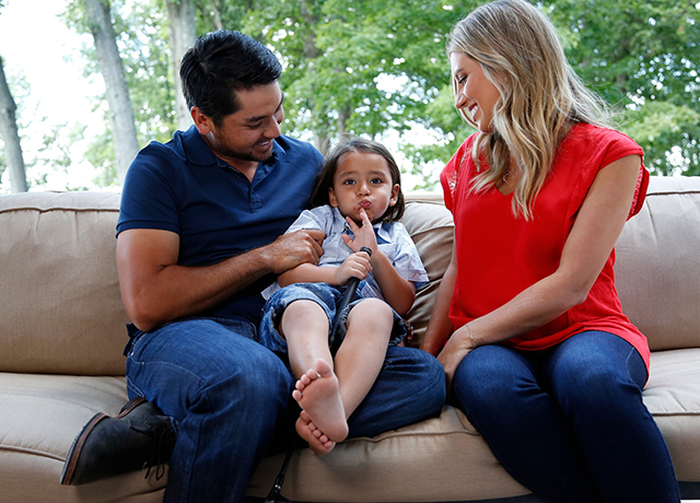 Day, his son Dash, 3, and wife Ellie.