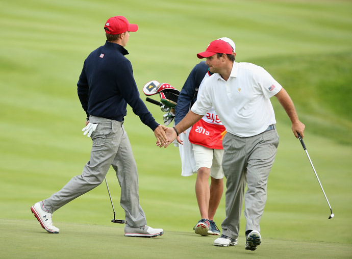 Jason Day and Charl Schwartzel were no match for Patrick Reed and Jordan Spieth on day 3.