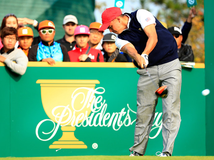 Rickie Fowler and Patrick Reed lost to Louis Oosthuizen and Braden Grace in Saturday foursomes.