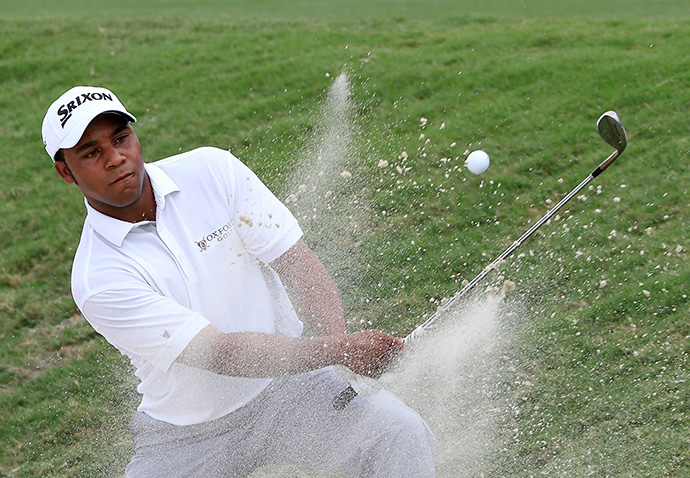 Harold Varner III of the United States plays a shot on the first hole during the first round of the Web.com Tour Championship.