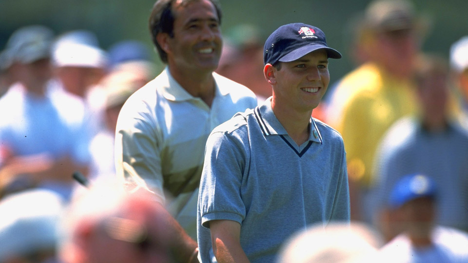 "Sergio, with Seve at the 1999 Masters. ""He had such great charisma,"" Garcia says of his hero."