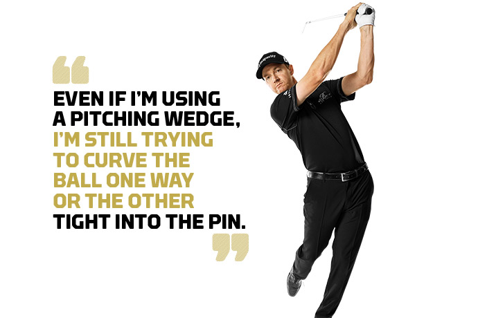 """To hit a draw, I try to """"wrap"""" the club around me -- as I'm doing here -- with the shaft perpendicular to my spine at the finish. To fade it, I finish with the shaft more up and down."""