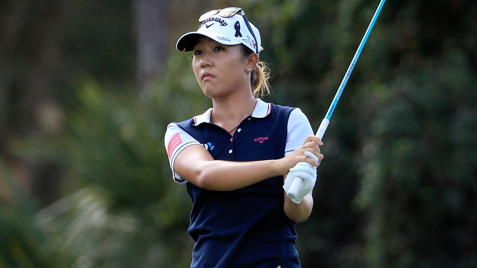 Lydia Ko plays a shot during the first round of the CME Group Tour Championship.