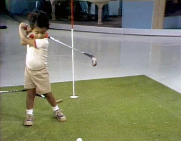 Tiger Woods made his television debut at age 2.