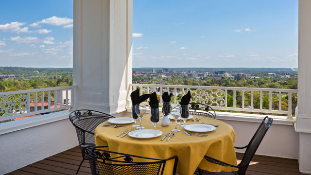 It's hard to beat the view from the balcony overlooking Augusta.