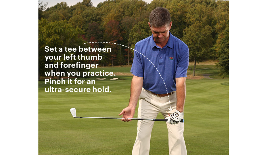 Take your grip so that the back of your left hand and clubface align.