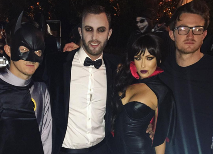 Squad. Batman @tygretzky Dracula @djohnsonpga Fireman @trevorgretzky & Vamp-ire best make up ever @justinlamonte