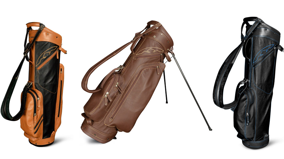 From left: Sun Mountain Tan Leather Cart Bag; Sun Mountain Brown Leather Stand Bag; Sun Mountain Black Leather Sunday Bag.