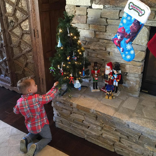 Caleb putting up his Christmas Tree! #SuperHeroOrnaments #PawPatrolStocking