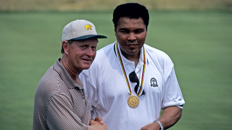 Jack Nicklaus and Muhammad Ali during the 1996 PGA Championship held at Valhalla Golf Club in Louisville, Kentucky.