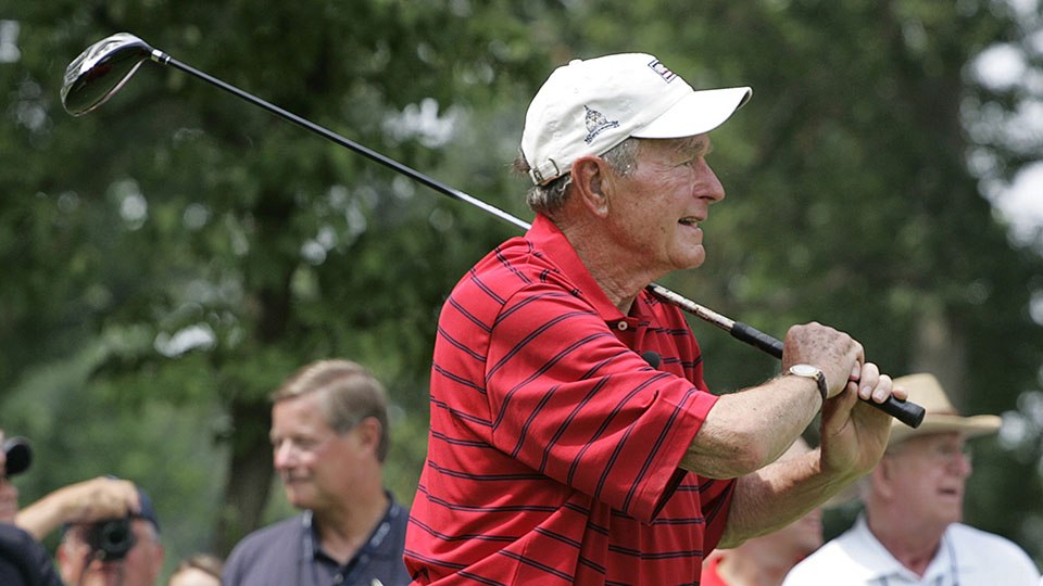 Former President George H.W. Bush hits the ceremonial first drive during the Opening Ceremony of the AT&T National at Congressional Country Club on July 4, 2007 in Bethesda, Maryland.
