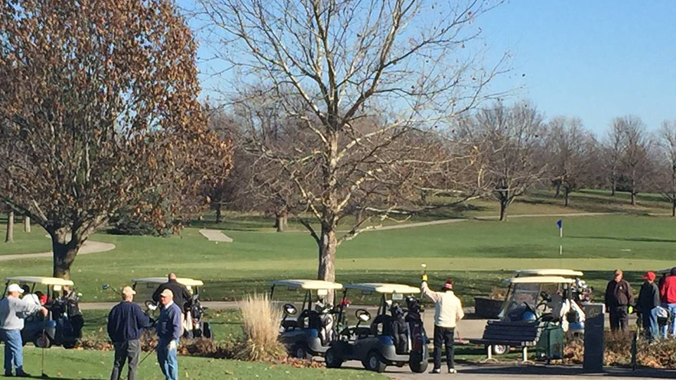 Golfers wait to tee off at Jester Park Golf Course in December 2015. More than 100 golfers played at there that day.