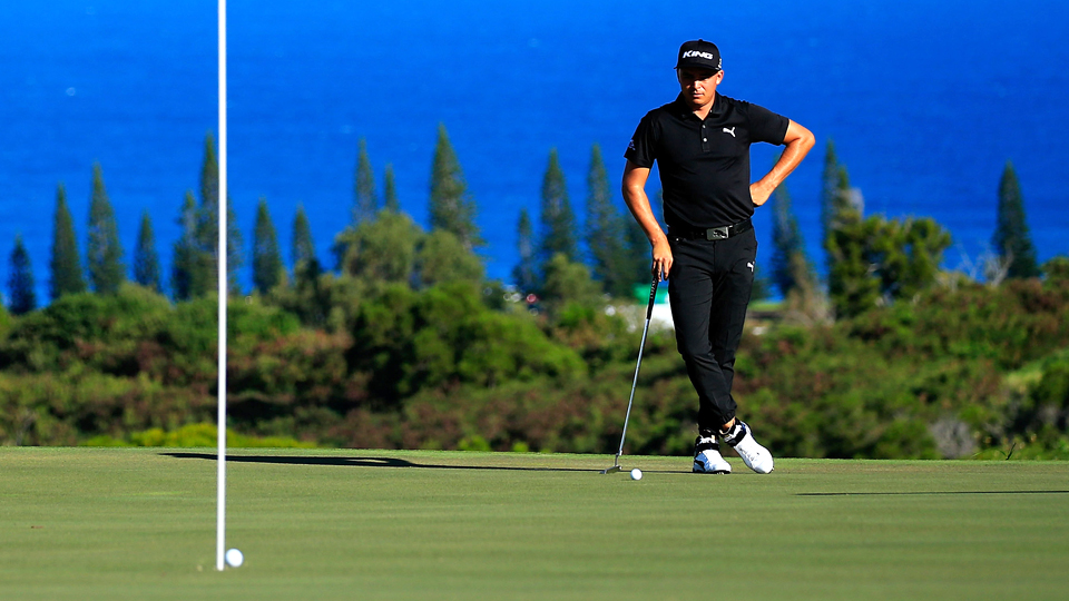 Rickie Fowler waits to putt during practice rounds prior to the Hyundai Tournament of Champions at the Plantation Course at Kapalua Golf Club on Jan. 5, 2016, in Lahaina, Hawaii.