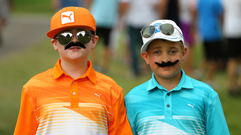 Young Rickie Fowler fans take in the third round of the 2015 WGC-Bridgestone Invitational.